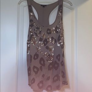 Cheetah print tank with sequins